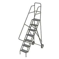 Tri-Arc KDRF107162 7-Step All-Terrain Roll and Fold Steel Industrial & Warehouse Ladder with Grip Strut Tread