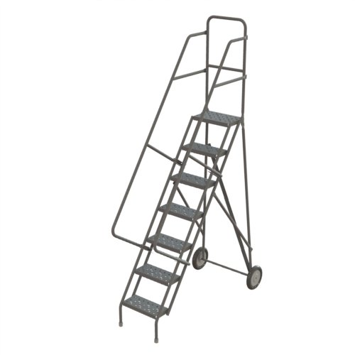 (Tri-Arc KDRF107162 7-Step All-Terrain Roll and Fold Steel Industrial & Warehouse Ladder with Grip Strut Tread)