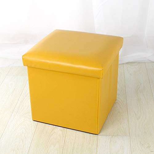 Zzaini Folding Storage Ottoman with Flipping lid Large Capacity Bench Faux Leather Footstool Adult Multi-Function Toy Storage Box-Yellow 30x30x30cm