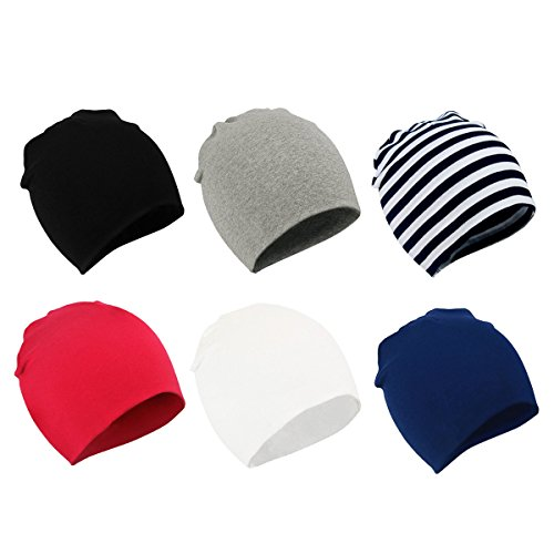 (Zando Toddler Baby Beanies Hat for Baby Girls Cotton Knit Beanie Kids Lovely Soft Cute Cap Infant Beanies for Baby Boys A 6 Pack Black Stripe White Navy Light Grey Red Large (1-4 years) )