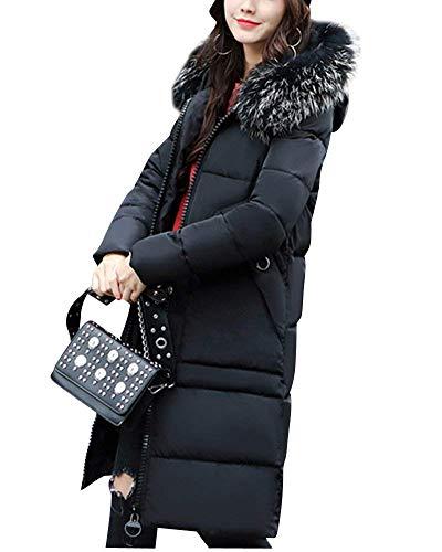 Trench Femme Chaud Hiver Doudoune Manteau Unicolore Manches Longues Spcial Style avec Fermeture clair Gaine A Capuche Manteaux Branch Coat Poches Avant Schwarz