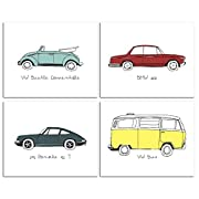 8 x10  Vintage Cars Nursery Prints for Baby and Children Room Decor & Decorations Perfect for Baby Shower Gift Ideas