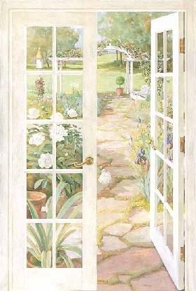 Trompe L Oeil French Doors Window Wallpaper Wall Mural Garden Path