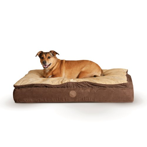 K&H Pet Products Feather-Top Ortho Pet Bed Medium Chocolate/Tan 30