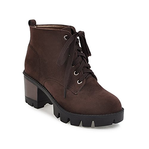 BalaMasa Womens Fashion Platform Slip-Resistant Suede Boots ABL10080 Khaki EPQi7