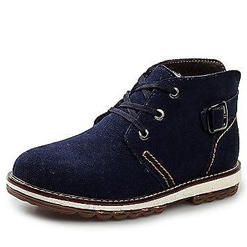 YU&YU botas de los hombres zapatos de moda botines de ante de tacón plano con cordones