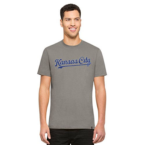 ('47 MLB Kansas City Royals Men's Knockout Tee, Medium, Wolf Grey)