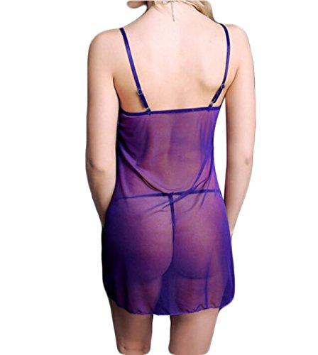 Pijamas De La Diversión Del Cordón Atractivo De Europa Linda Chica Purple