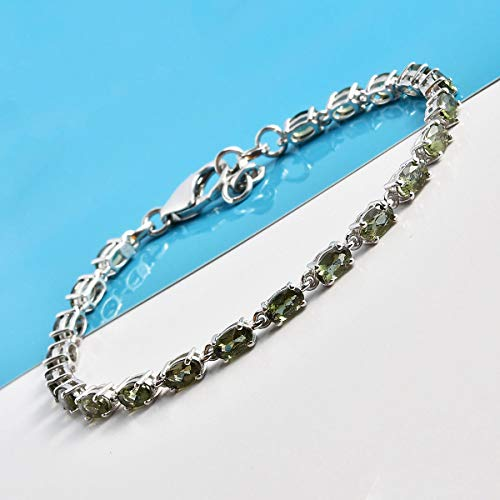"925 Sterling Silver Tennis Bracelet Platinum Plated Oval Moldavite Jewelry Size 7.25"" Cttw 3.2"