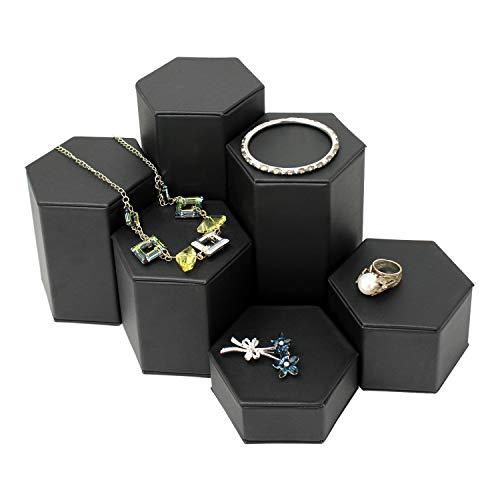 Mooca Black Leatherette Jewelry Display Riser Set, 6 Pieces