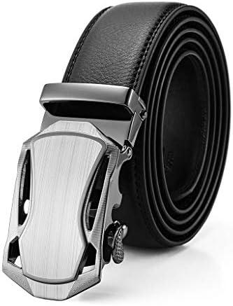 Gürtel für Männer, Herren Automatik-Ratsche Gürtel aus echtem Leder Business Casual Mode Schnalle, Trim Fit (Farbe : 1#, größe : 120cm)