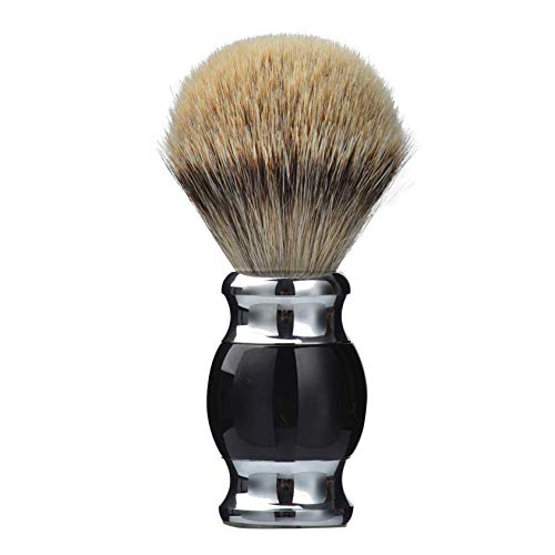 100% pure silvertip badger hair shaving brush, handmade shaving brush with fine resin handle and stainless steel base,travel well (black)