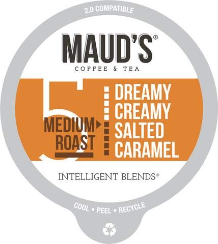 Maud's Salted Caramel Flavored Coffee, 100ct. Recyclable Single Serve Coffee Pods - Richly Satisfying Arabica Beans California Roasted, K-Cup Compatible Including 2.0