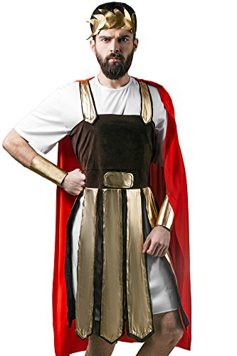 Adult Men Roman Halloween Costume Julius Caesar Gladiator Dress Up & Role Play (Medium/Large)