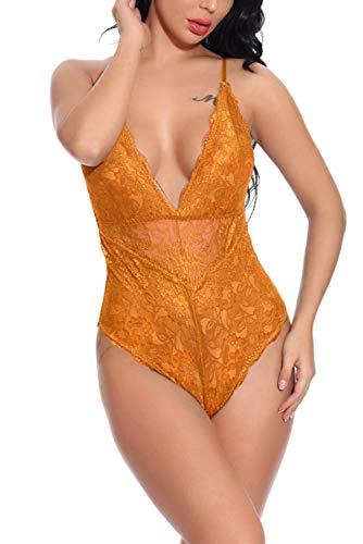(Aranmei Women Deep V Sexy Lace Bodysuit Snap Crotch Lingerie Teddy Underwear (Orange, Small))