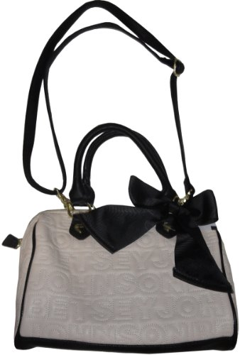 Betsey Johnson Purse Handbag Mini Betsey Logo Satchel Bone/black