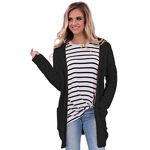 and Women's LADY Sweater Front Stylish Pocket Black Cardigan Elegant Long Open ART 47Iqq