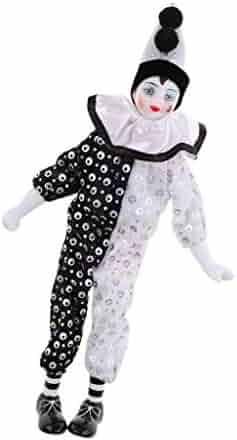Fityle 38cm Vintage Porcelain Doll Hanging Foot Clown Model Circus Props  Home Decoration Desk Ornaments d59bbb43dea1