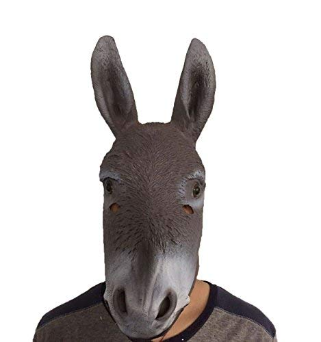 DylunSky New Halloween Donkey Latex Mask, Black, Medium