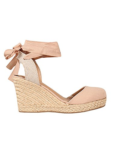 Ermonn Womens Platform Wedge Sandals Closed Toe Lace up Ankle Strap Espadrille Sandals Pink