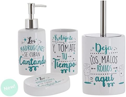 Dcasa - Set de baño frases original de cerámica para cuarto de ...