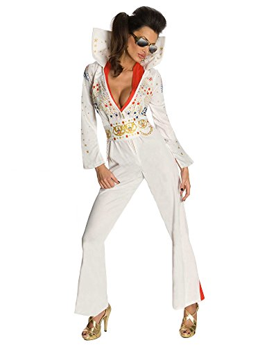 Secret Wishes Womens Elvis Jumpsuit Costume, White, X-Small