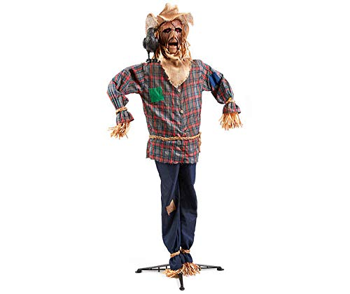 SpookyVillage 6ft Animated Scarecrow Halloween Prop - Sound Activated -