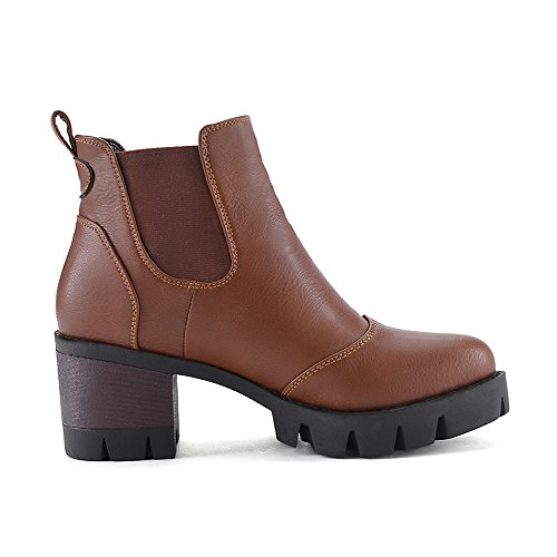 Heels Low on Boots Kitten AmoonyFashion Solid Brown PU Women's top Pull qw0xT7I