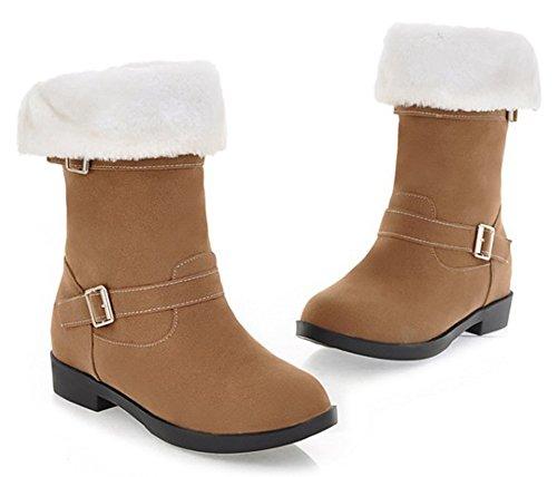 Aisun Womens Comfortabele Warme Gesp Ronde Teen Pull Op Nepbont Gevoerde Platte Winter Half Kalf Snowboots Schoenen Bruin