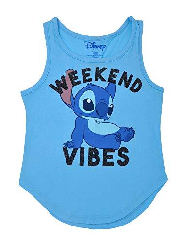 Disney Girl's Tank Top Stitch Print Lilo & Stitch Sleeveless T-Shirt (Large) Blue (Print Glitter Top)