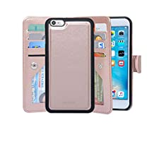 iPhone 6 / 6s Case Detachable Magnetic Housing Wallet Case [Microfiber Layer to Protect Screen from Scratches] [8 Card Slots] [2 Money Pocket] 4.7 Inch iPhone Cover - NAVOR® - Rose Gold