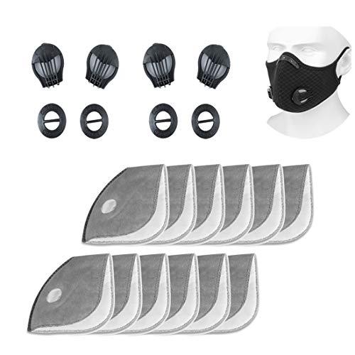 12 filtros de repuesto de carbon activo + 4 valvulas de respiracion, reutilizables, transpirables, filtro de polvo PM 2.5 para bicicleta, deporte, mascara de proteccion respiratoria