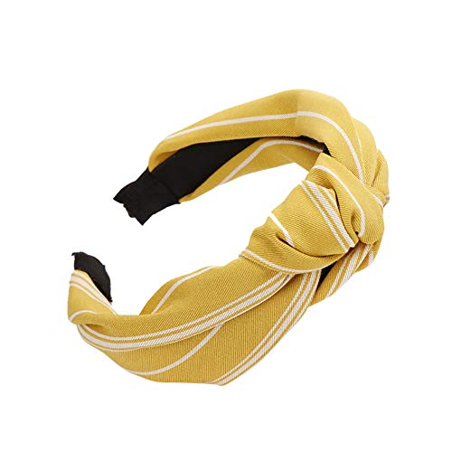 Headbands for Women, Bow Knot Hairband Twisted Knotted Headwraps Hair Accessories (Yellow)