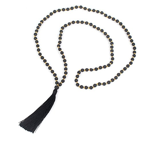 FM42 Essential Oil Diffuser & Aromatherapy Black Lava Bead Long Necklace with Black Tassel ZN1044