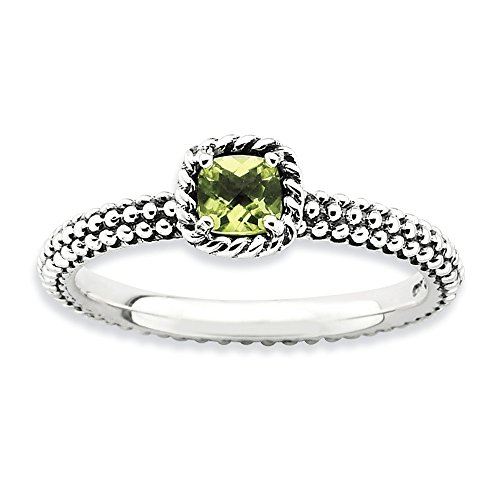 Antiqued Sterling Silver Stackable Peridot Ring, Size 6