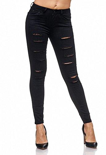Da Donna Fori D2084 Nero Pantaloni Arizonashopping Jeans Biker Strappati Cracks Distrutti Treggings AtftInqB1