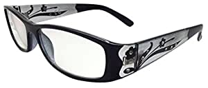 QUALITY READING GLASSES PLAIN BLACK FRAMES & DIAMANTE DECORATED ARMS +3.5 E50