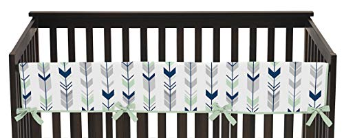 Sweet Jojo Designs Grey, Navy and Mint Woodland Arrow Long Front Rail Guard Baby Teething Cover Crib Protector Wrap