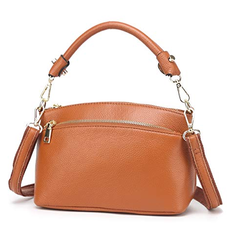 (CHERRY CHICK Women's Genuine Leather Crossbody Purse Small Cowhide Skin Handbags Shoulder Bag for Lady(Yellowish Brown-9001))