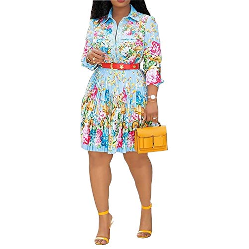 VERWIN Lapel Three-Quarter Sleeve Knee Length Pleated Floral Women's Sheath Dress M Sky Blue