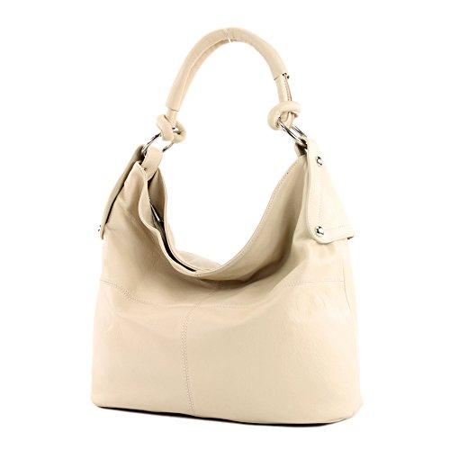 Bolso italiano de mano para señora, bolso tipo bandolera, cuero de napa T61 T61 Beige