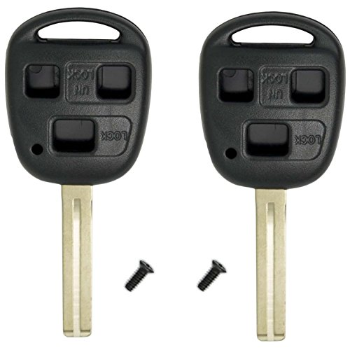 HelloAuto 2 Pack For Lexus Key Shell Fob Cover Case Replacement Remote with Blank Key for Lexus ES GS GX IS LS LX RX SC FCC ID: HYQ1512V HYQ12BBT (Car Is300 Cover Lexus)