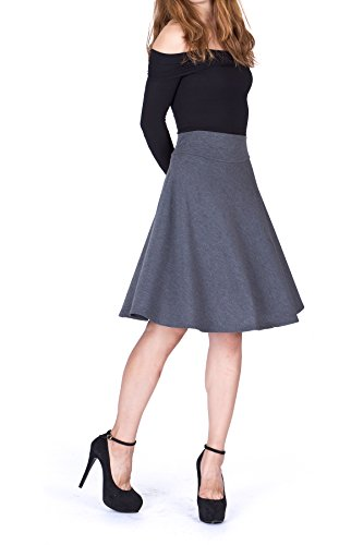 Impeccable Elastic High Waist A-line Full Flared Swing Skater Knee Length Skirt (S, Charcoal)