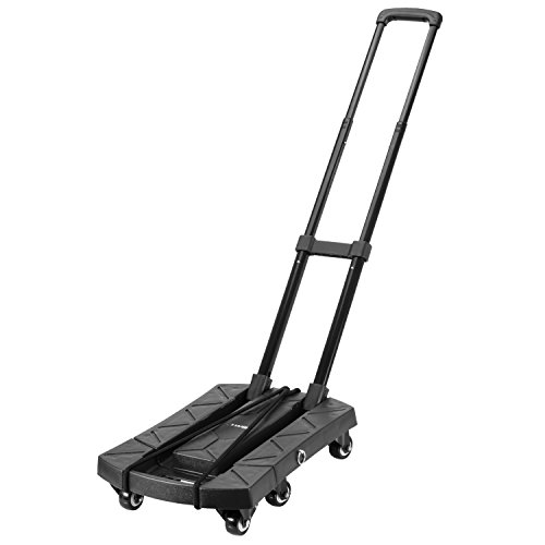 Ollieroo Cart Compact Personal Folding Hand Truck Luggage Cart with 6 wheels and Free Rope, 440 Lb Capacity Black by Ollieroo (Image #1)