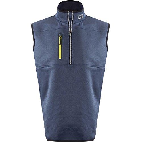 Cutter & Buck 2017 Mens Golf Thermal Tech Windproof Half Zip Vest Denim Melange ()