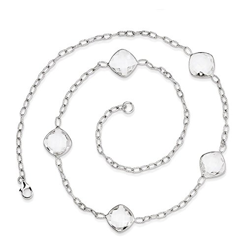 Sterling Silver Rhodium-plated 18in. White Topaz Necklace