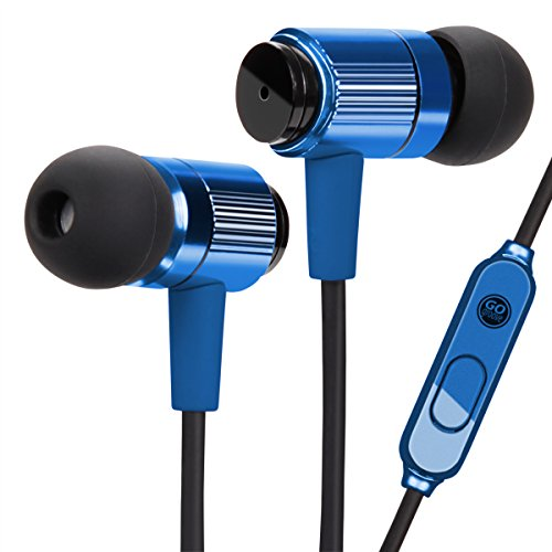 GOgroove AudiOHM RNF Durable Earbuds - Heavy Duty Headphones with Thick Aramid Fiber Reinforced Cable, in-Line Microphone, in-Ear Noise Isolation & Rugged Metal Driver Housing (Cobalt Blue)