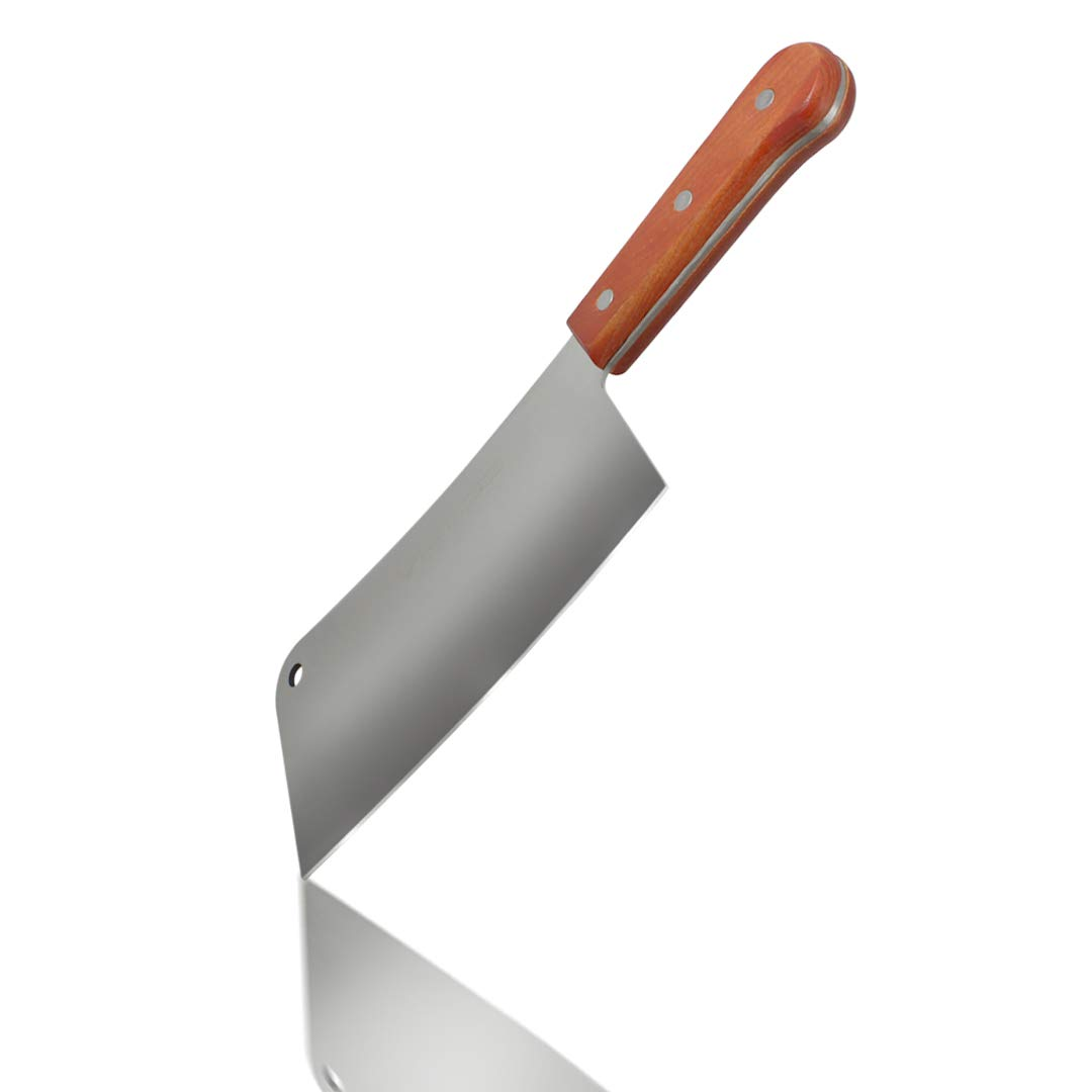 Professional Meat Cleaver - Stainless Steel Chopper with Natural Wood Handle Heavy-Duty Professional Butcher Knife Perfect to Cut and Chop Meat, Bones, Vegetables (10'' blade / 16.5'' total)