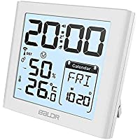 BALDRUS Alarm Clocks with Indoor Temperature and Humidity Monitor, Thermometer Hygrometer Room Humidity Meter Gauge Max/Min Indicator, Snooze Alarm Clocks Large HD Backlight for Home, Room, Bedroom