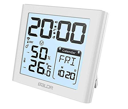 BALDR Desk Alarm Clocks with Snooze Date Calendar Functions and Indoor Thermometer Hygrometer, Portable Travel Clocks Temperature Humidity Meter Max/Min Record White Backlight (White) by BALDRUS